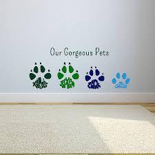 personalised paw print wall art sticker