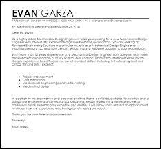 Cover Letter For Design Engineer Mechanical Mechanical Design