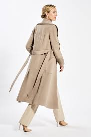 Sentaler Designer Sentaler Luxury Outerwear Long Wide Collar Wrap Coat Camel