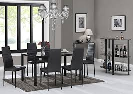 ebs black gl dining table set and 6