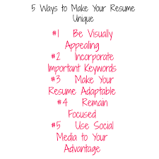 5 Ways To Make Your Resume Unique By Chicmompreneur She Owns It