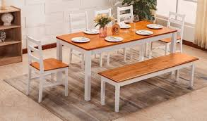 Country Kitchen Table 5 Chairs Bench Dining Home Set White Wood
