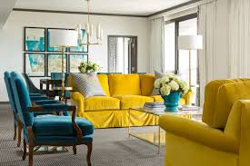Peacock Blue and Yellow Living Room