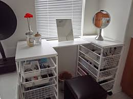 diy makeup vanity table. Enchanting U-shaped Diy Makeup Vanity Table Featuring Double Side Guide Railed Pull Out Storage Metal Bins With Upper Mini Mirror And Black Leather 6