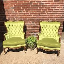 Very chartreuse velvet tufted wingback chairs no not new but