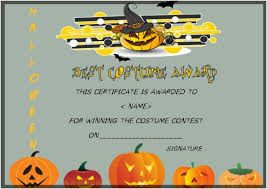 Costume Contest Certificate Template Halloween Costume Certificates With Best Designs And