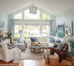 Navy And White Living Room Design  A Style Update U2014 Coastal Navy And White Living Room