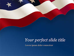 Usa Flag On Blue Background Free Presentation Template For