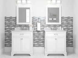 Image Tile Ideas Double Vanities Set Into Wall Patterned By Grey And White Linear Mosaic Tiles Lowes Bathroom Tile And Trends At Lowes
