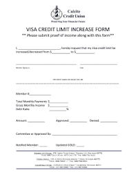 Fillable Online Visa Credit Limit Increase Form Fax Email