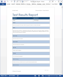Ms Word Report Test Results Report Ms Word Templates Forms Checklists For Ms