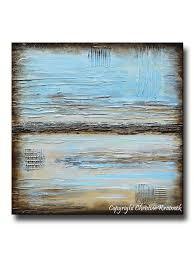 beach wall art blue abstract painting blue brown modern urban canvas print coastal beach artwork