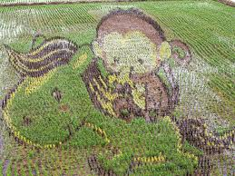 chinese rice field.  Rice PHOTO A 3D Picture Of A Monkey Is Seen On Rice Fields June 15 With Chinese Rice Field D