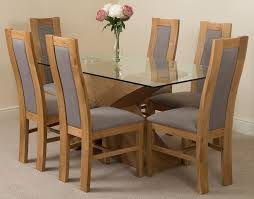 valencia oak 160cm wood and glass dining table with 6 stanford solid oak dining chairs light oak and brown leather valencia glass dining table and chair