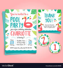 Birthday Invitation Party Flamingo Birthday Invitation Pool Party