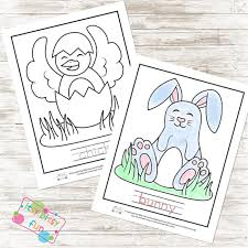 Easter Coloring Pages and Word Tracing Worksheets - Itsy Bitsy Fun