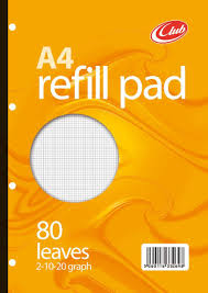 graph sheet club refill pad a4 80 sheet graph paper amazon co uk office products