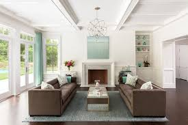 brown and blue living rooms
