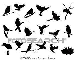 鳥 シルエット コレクション クリップアート切り張りイラスト絵画集