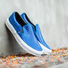 vans classic slip on snake leather blue