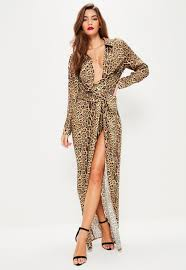 Nude Leopard Print Wrap Front Maxi Dress Missguided