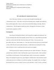 task leadership and communication reflection paper docx  task 13 leadership and communication reflection paper docx nathan johnson professional leadership and communication for healthcare janette garrett wgu
