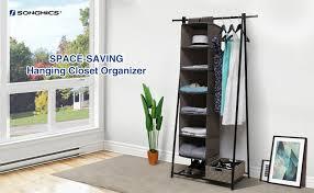 Amazoncom SONGMICS 6 Shelf Hanging Closet Organizer Sturdy