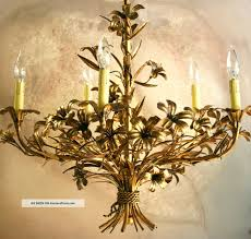 elegant italian gold leaf tole chandelier handpainted gilt metal flowers 1950 s