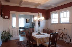 dining room coffered ceiling in kitchen brown sculpture legged table area stained ceramic floor woven
