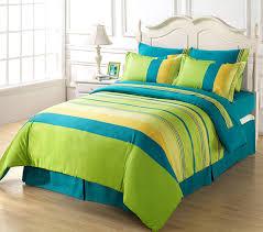 6 piece soft blue green yellow striped duvet cover