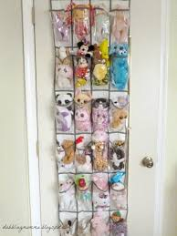 Hang a shoe organizer to store small stuffed animals behind the door.