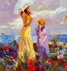 high quality oil painting canvas pino daeni art for woman on the beach portrait painting hand painted gift in painting calligraphy from home garden