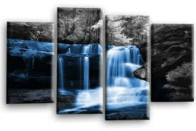 autumn forest waterfall canvas wall art