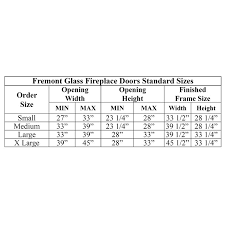 Fireplace Door Size Chart Fremont Bifold Steel Fireplace Doors