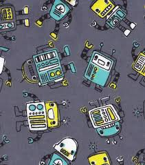 Joann Fabrics Patterns Simple Snuggle Flannel Fabric Blinky Robots JOANN