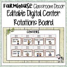 Center Rotation Chart Farmhouse Classroom Decor Digital Center Rotations Chart