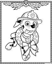 Paw Patrol Holiday Christmas Marshall Coloring Pages Printable