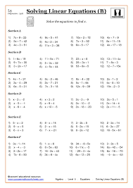 collection of solutions linear equations worksheets grade 10 breadandhearth for your algebra worksheets quiz