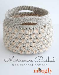 Free Crochet Basket Patterns Stunning Free Crochet Pattern Moroccan Basket Moogly
