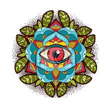 Fototapeta Krásná Okrasných Pivoňka Růže Květ S Boží Oko Old School Tetování
