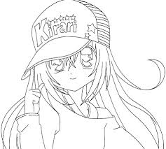Small Picture Anime girl coloring pages wearing hat ColoringStar