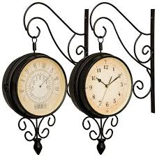 kassel double sided train station style clock thermometer
