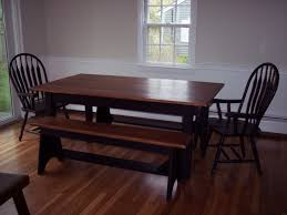 shaker farm table with solid maple top w maple matching bench