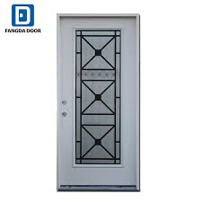 tempered glass inserted decorative iron full lite prefinished white steel prehung front door