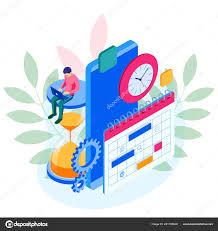 Online Planning Calendar Isometric Online Weekly Schedule And Calendar Planner Organization