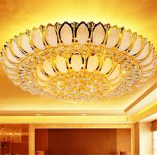2018 golden lotus crystal lamp living room bedroom cornucopia led round ceiling lamp chandelier light lighting with remote control from flymall