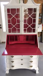 lacquer paint furniture. Antique Secretary Painted With AHAH Lacquer Paints In White Perfection And Begonia Paint Furniture