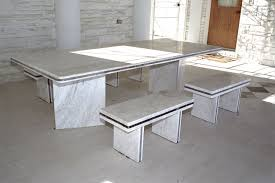 mesmerizing white marble dining table sets plus small benches on concrete tiles floor