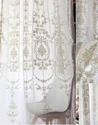embroidered fl pattern white sheer curtain