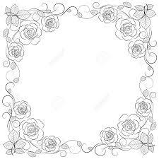 白い背景に分離された黒のシンプルな花のフレーム